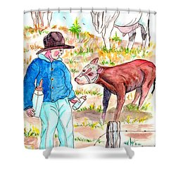 Coaxing The Herd Home Shower Curtain