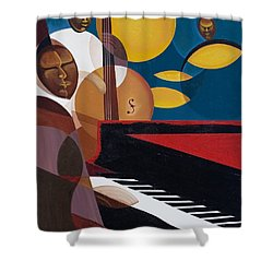 Cobalt Jazz Shower Curtain by Kaaria Mucherera