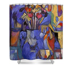 Cobalt Rose Shower Curtain