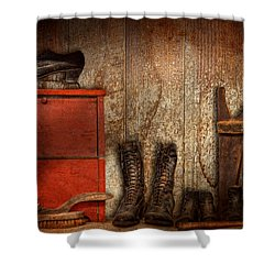 Cobbler - The Shoe Shiner 1900  Shower Curtain by Mike Savad