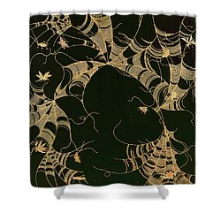 Cobwebs And Insects Shower Curtain by Japanese School