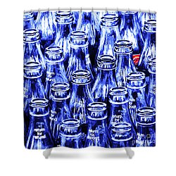 Coca-cola Coke Bottles - Return For Refund - Square - Painterly - Blue Shower Curtain