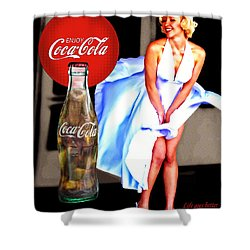 Shower Curtain featuring the photograph Coca Cola Girl Marilyn by James Sage