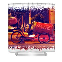 Shower Curtain featuring the photograph Coca Cola Tricycle Bin - Lima by Mary Machare