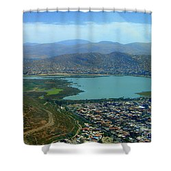 Shower Curtain featuring the photograph Cochabamba Lake by Lew Davis