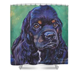 Cocker Spaniel Head Study Shower Curtain by Lee Ann Shepard