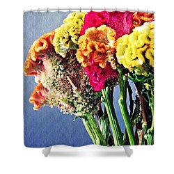 Shower Curtain featuring the photograph Cockscomb Bouquet 2 by Sarah Loft