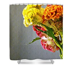 Shower Curtain featuring the photograph Cockscomb Bouquet 4 by Sarah Loft
