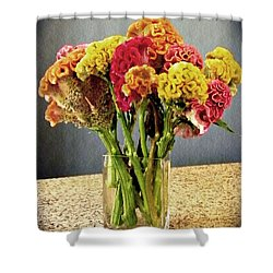 Shower Curtain featuring the photograph Cockscomb Bouquet by Sarah Loft