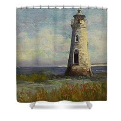 Cockspur Island Lighthouse Shower Curtain by Nora Sallows