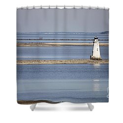 Cockspur Island Lighthouse With Jetty Shower Curtain by Carol Groenen