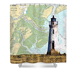 Cockspur On Navigation Chart Shower Curtain