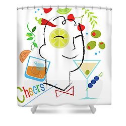 Cocktail Time Shower Curtain by Lisa Henderling