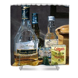 Cocktails And Mustard Shower Curtain by Lynne Reichhart