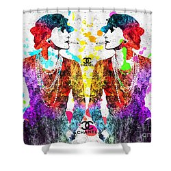 Coco Chanel Grunge 2 Shower Curtain