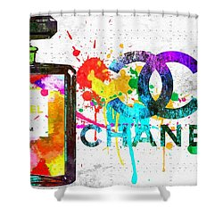 Coco Chanel No. 5 Grunge Shower Curtain