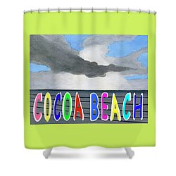 Cocoa Beach Poster T-shirt Shower Curtain by Dick Sauer