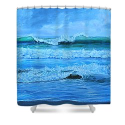 Cocoa Beach Surf Shower Curtain by AnnaJo Vahle