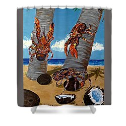 Coconut Crab Cluster Shower Curtain