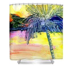 Coconut Palm Tree 3 Shower Curtain by Marionette Taboniar