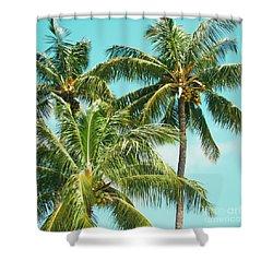 Coconut Palm Trees Sugar Beach Kihei Maui Hawaii Shower Curtain by Sharon Mau