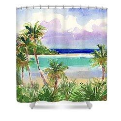 Coconut Palms And Lagoon, Aitutaki Shower Curtain