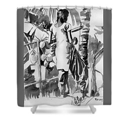 Coconut Seller From Alleppy Shower Curtain