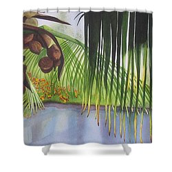 Shower Curtain featuring the painting Coconut Tree by Teresa Beyer
