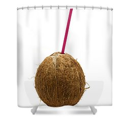 Coconut With A Straw Shower Curtain