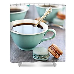 Coffee And Macarons Shower Curtain