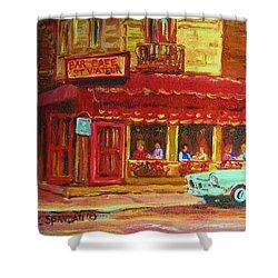 Coffee Bar On The Corner Shower Curtain by Carole Spandau