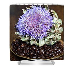 Coffee Beans And Blue Artichoke Shower Curtain