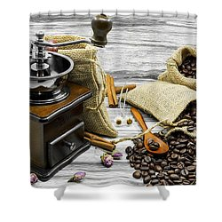 Coffee Beans Still Life Shower Curtain