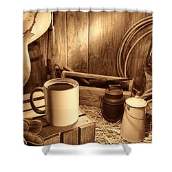 Coffee Break At The Chuck Wagon Shower Curtain