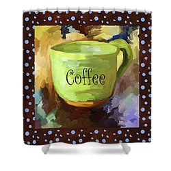 Coffee Cup With Blue Dots Shower Curtain by Jai Johnson