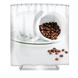 Coffee Cups And Coffee Beans  Shower Curtain by Ulrich Schade