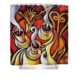 Shower Curtain featuring the painting Coffee Cups by Leon Zernitsky
