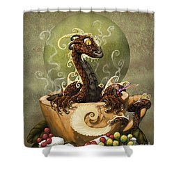 Coffee Dragon Shower Curtain
