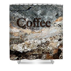 Coffee Edit 2 Brown Letters Shower Curtain
