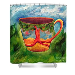 Coffee In The Park Shower Curtain by Elizabeth Fontaine-Barr