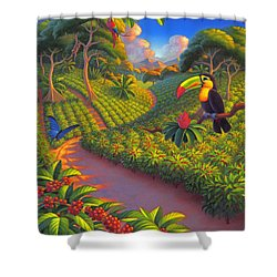 Shower Curtain featuring the painting Coffee Plantation by Robin Moline