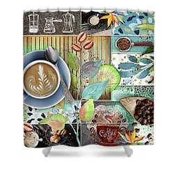 Coffee Shop Collage Shower Curtain