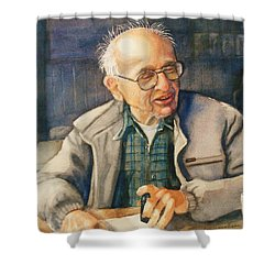Coffee With Andy Shower Curtain by Marilyn Jacobson