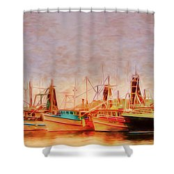 Shower Curtain featuring the photograph Coffs Harbour Fishing Trawlers by Wallaroo Images
