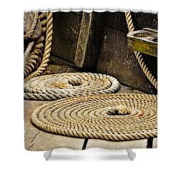 Coiled Rope From Philadelphia II Gunboat Shower Curtain