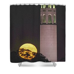 Coit Tower And Harvest Moon Shower Curtain