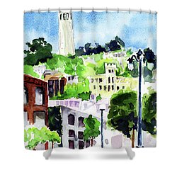 Coit Tower From The Embarcadero Shower Curtain by Tom Simmons