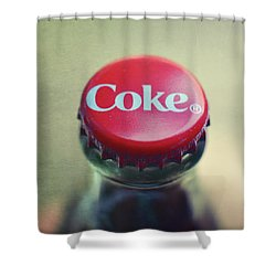 Coke Bottle Cap Square Shower Curtain by Terry DeLuco