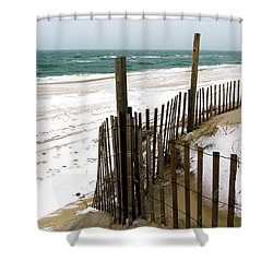 Cold Beach Haven Morning On Long Beach Island Shower Curtain