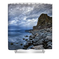 Cold Blue Cave Rock Shower Curtain